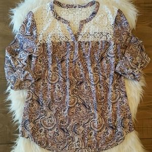 Daniel Rainn Purple Paisley Blouse Crochet Detail